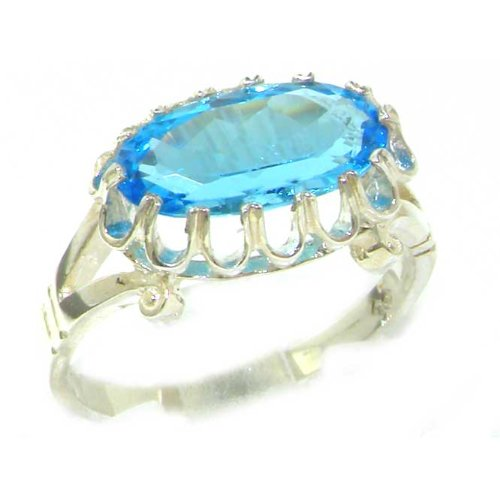Quality Solid Sterling Silver Genuine 3ct Blue Topaz English Victorian Inspired Ring - Size 12 - Finger Sizes 5 to 12 Available - Suitable as an Anniversary ring, Engagement ring, Eternity ring, or Promise ring
