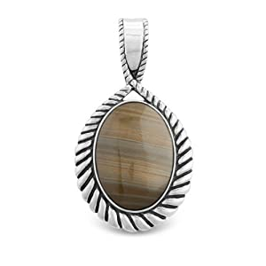 Sterling Silver Oregon Saturn Jasper Pendant Enhancer