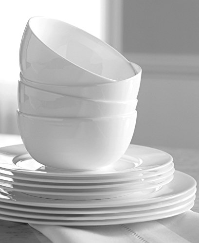 Hotel Collection Dinnerware Bone China 12 Piece Set - White (Hotel Dinnerware compare prices)