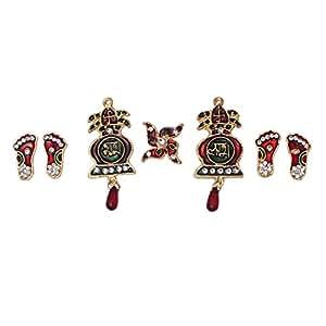 Mela Metal Meena Plated Auspicious Shubh Labh Swatik and Lakshmi Paduka Symbols