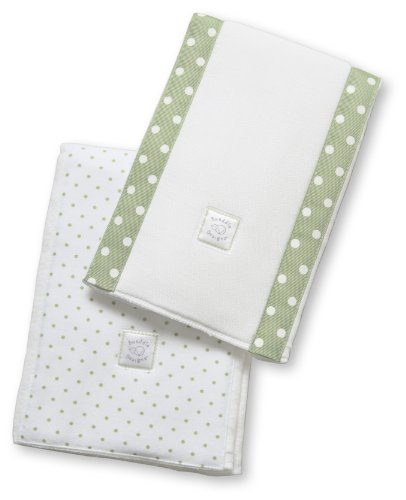 SwaddleDesigns Baby Burpies, Sage Polka Dots (Set of 2 Burp Cloths)