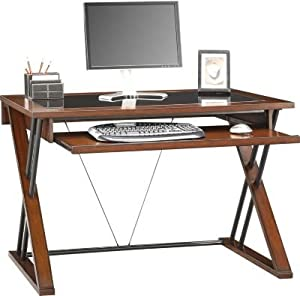 Modern wood glass brown black computer laptop writing desk home bedroom and commercial - Cheap black desks ...