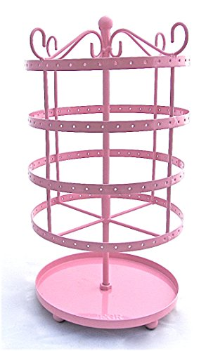 Earring Jewelry Pink Metal Carousel Spinning Organizer Storage Holder Stand Large Size Holds All Type 75 Pair