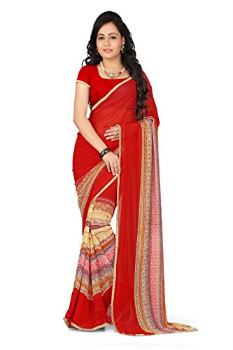 Varsha Sarees Women's Synthetic Georgette Unstitched Red Colored Geometric Print Saree_3855