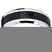 buy Tianmall Cobalt Chrome Men'S Wedding Ring With Black Carbon Fiber Inlay Comfort Fit Band 8Mm