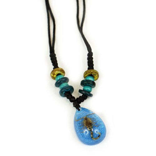 Gold Scorpion Necklace, Blue