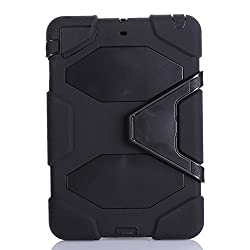 IIYBC Brand for Apple Ipad Mini 1&2&3 Defender Shockproof Survivor Military Duty Hybrid Hard Case with Soft Silicone (Black)