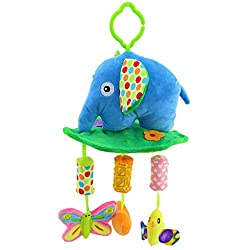 Happy Cherry Baby Early Development Toys Multifunctional Plush Elephant Bed Hang Ring Bell