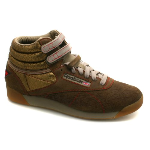 79cbaa19df4ce Womens Reebok Freestyle 82 High Top Brown Vintage Sneakers Brown 10 ...