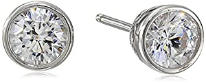 Plated Sterling Silver Swarovski Zirconia Bezel-Set Stud Earrings from Amazon Collection