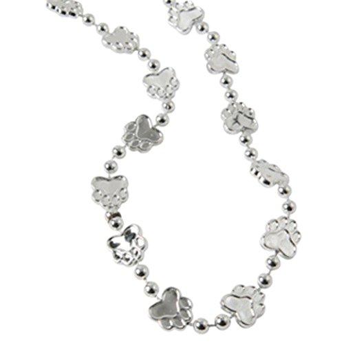 "Dozen Silver Metallic Paw Print Design Plastic Necklaces - 32"""