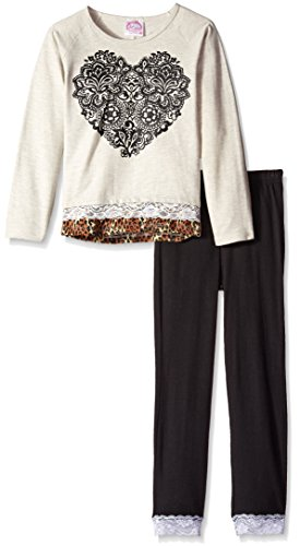 Sugah & Honey Little Girls' Sweatshirt with Chiffon and Lace Trim and Leggings, Oatmeal/Black, 7