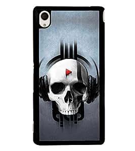 Skull Listening Music 2D Hard Polycarbonate Designer Back Case Cover for Sony Xperia M4 Aqua :: Sony Xperia M4 Aqua Dual