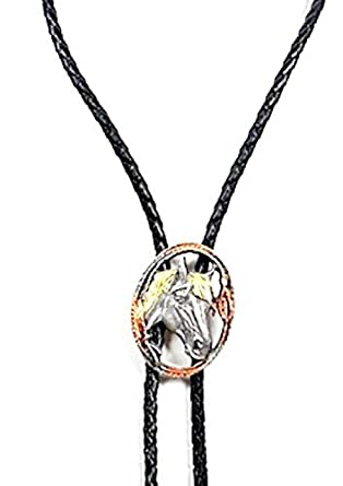 Tricolor Horsehead Pewter Bolo Tie at Amazon Men's Clothing store