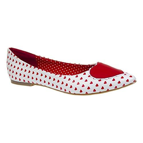 Scarpe Basse Flat Shoes Alma Banned (Bianco/Rosso) - 39