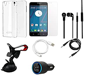 NIROSHA Tempered Glass Screen Guard Cover Case Car Charger Headphone USB Cable Mobile Holder for YU Yureka - Combo