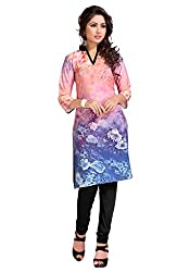 The Ethnic Chic Women's Dusty Pink & Blue Color Crepe Kurti.