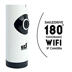 Smiledrive Panoramic WIFI IP CCTV Security Cam 180 degree fish eye view-Wireless Survelliance 720P HD Cam, Baby Monitor with Two-way Talk, Night Vision IR Cut and more