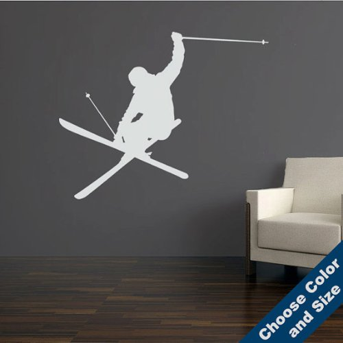 Heli-Iron Cross-Skier Wall Decal, Large sizes, Choose Size and Color