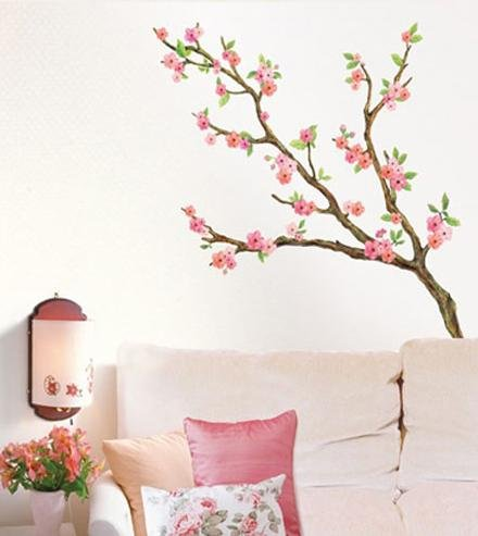 Wall art stickers cherry blossom wall decal decor mural for Cherry blossom tree wall mural