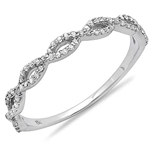 0.20 Carat (ctw) Round Diamond Ladies Swirl Anniversary Wedding Band Stackable Ring 1/5 CT