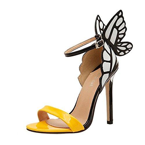 Minetom Donne Sandali con Tacco a Spillo Punta Aperta Fiocco Scarpe con la Farfalla alla Moda ( Giallo EU 37 )