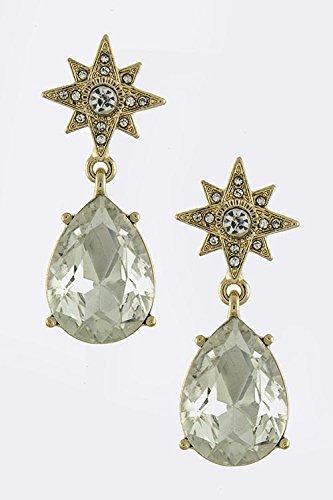 Karmas Canvas Teardrop Crystal Drop Earrings (Clear/Gold)