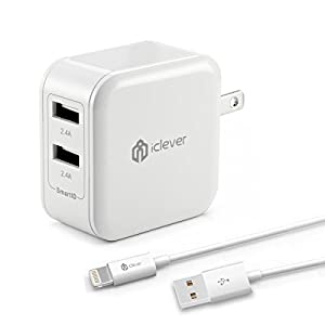 iClever BoostCube 4.8A 24W Dual USB Wall Charger with Apple MFI Certified 3.3ft Lightning Cable