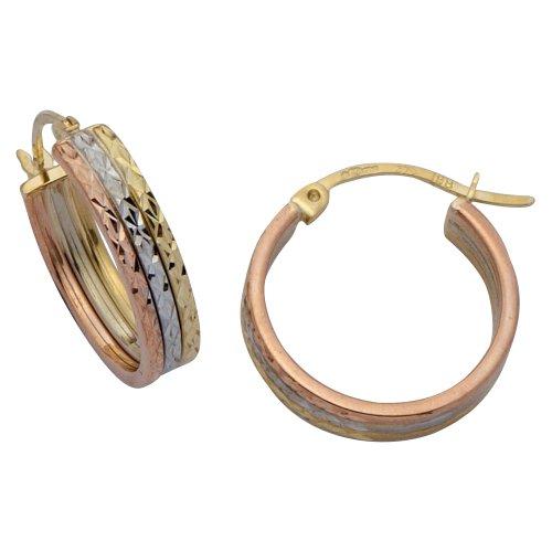 9ct 3-Colour Gold 16mm 3-Row Diamond Cut Band Creole Earrings