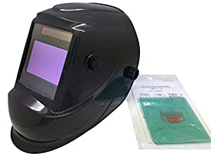 Solar Power Welding Helmet 810C, ANSI Approved Auto Darkening Hood with High Optical Class 1/1/1/2, Adjustable Shade Range of 4/5-9/9-13, Large Viewing Area of 3.94 x 2.63 for ARC TIG MIG MMA (Color: Black, Tamaño: LYG-M810C)