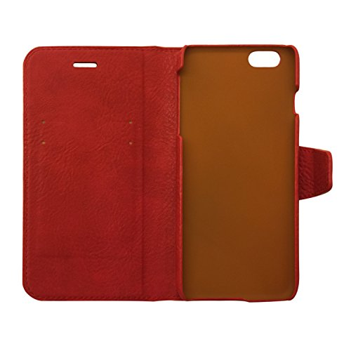 Genuine Leather Wallet Case for Apple iPhone 6s Plus & 6 Plus | Precision Engineered for Custom Fit | Inner Slots for Credit Cards & Outer Compartment for Cash & More | [Red] by Exinoz
