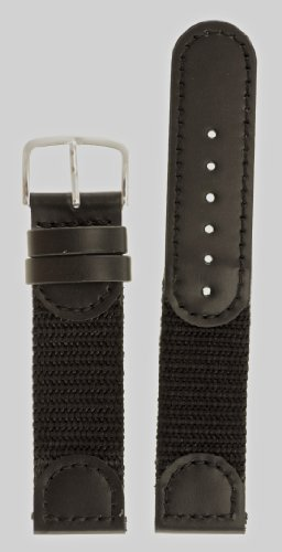 The Watchband Store Men's Swiss Army Style Watchband - Color Black Size: 19mm Watch Band - by JP Leatherworks
