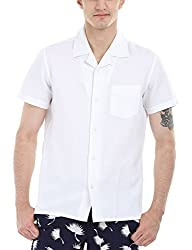 Zobello Men's Solid Camp Linen Shirt(11088F_Solid White_Medium)