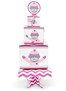 Sock Monkey Pink Centerpiece