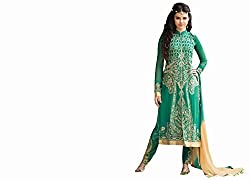 Amyra Women's Georgette Dress Material (AC695-04, Green)