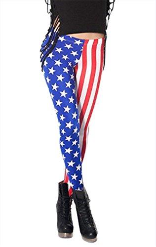 Women'S Fashion Digital Print American Flag Pattern Sexy Leggings