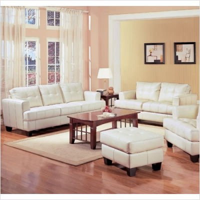 Picture of Wildon Home Liam Bonded Leather Sofa and Loveseat Set in Cream (50169Series) (Sofas & Loveseats)