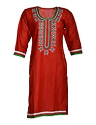 Global Women's Cotton Straight Kurta (GW56RedE42015, Red, 42)