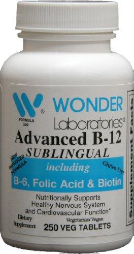 Sublingual Vitamin B12 (1000 mcg), B6 (5mg), Folic Acid(400 mcg) & Biotin (25mcg) - 250 Sublingual Tablets - Formulated with methylcobalamin Vitamin B-12.