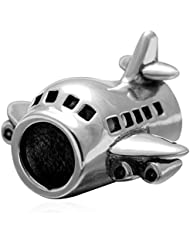 Passenger Flights Charm 925 Sterling Silver Airplane Bead For European Bracelet Compatible