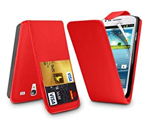 LEATHER FLIP SERIES CASE COVER + SCREEN PROTECTOR FOR SAMSUNG GALAXY S3 MINI I8190 (RED)