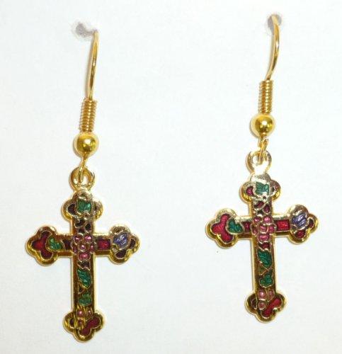 Red Cloisonne Cross Pierced Earring