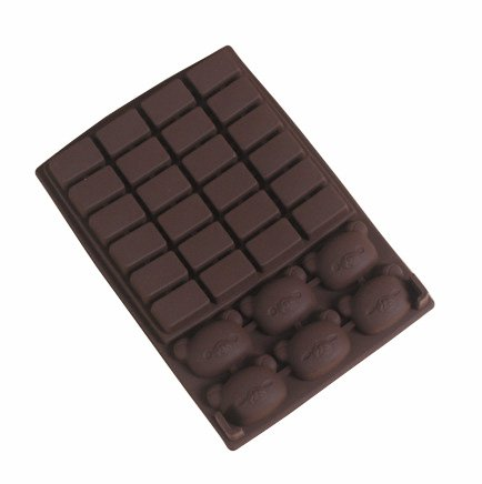 Jade Onlines 30-Cavity Adorable Chocolate Plates Bear Head Cartooon Animals Shaped Ice/Cake/Chocolate/Sugar Decorating Silicone Mini Cube Craft Fondant Mold Tray(Send By Random Colour)