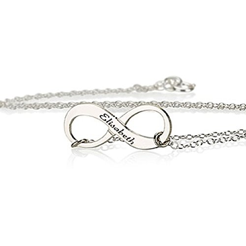 Engraved Sterling Silver Infinity Necklace Infinity Pendant (20 Inches)