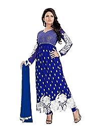 Maruti Creation Women's Georgette Semi-stitched Anarkali Suit Dress Material (MC1010_FREE_SIZE_BLUE)