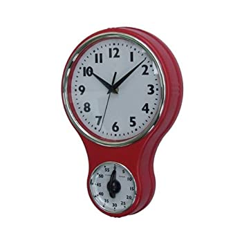Lily's Home® Retro Kitchen Timer Wall Clock, Bell Shape Red. (Red)