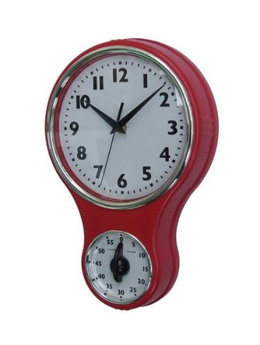 Lily's Home® Retro Kitchen Timer Wall Clock, Bell Shape Red. (Red) 0