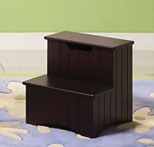 Kings brand dark cherry finish wood bedroom step stool with storage kitchen dining for Cherry wood step stool bedroom