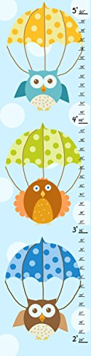 Green Leaf Art Owls and Umbrellas Growth Chart