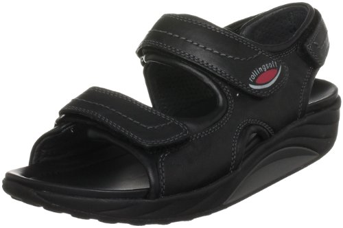 Gabor Women's Glow Leather Black Naht Grey Slides Sandal 46.990.17 7 UK